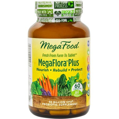 MegaFood MegaFlora Plus 50 Billion CFU Probiotic Supplement - 60 Vegetarian Capsules | Nourish | Rebuild | Protect - Walmart.com