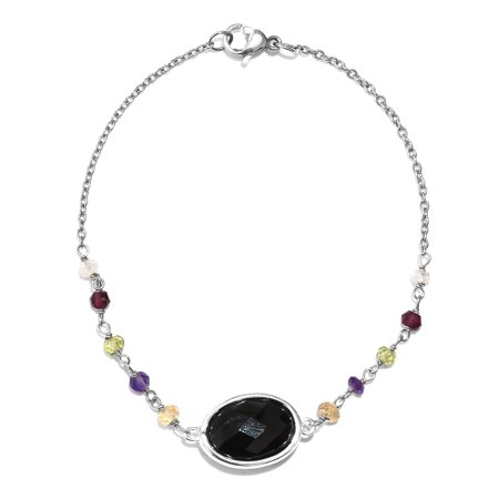 "Bracelet Silver Platinum Plated Smoky Quartz Rhodolite Garnet Women .25"" (Brown,Black)"