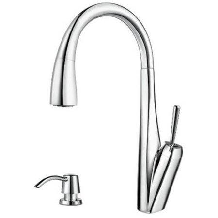 Pfister Zuri High Arc Kitchen Faucet with 3 Function Pullout AccuDock Sprayhead, Available in Various Colors