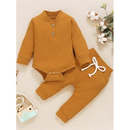 TureClos Baby Suit Cotton Knitted Fleece Newborn Suit Long Sleeve Button Infant Clothes