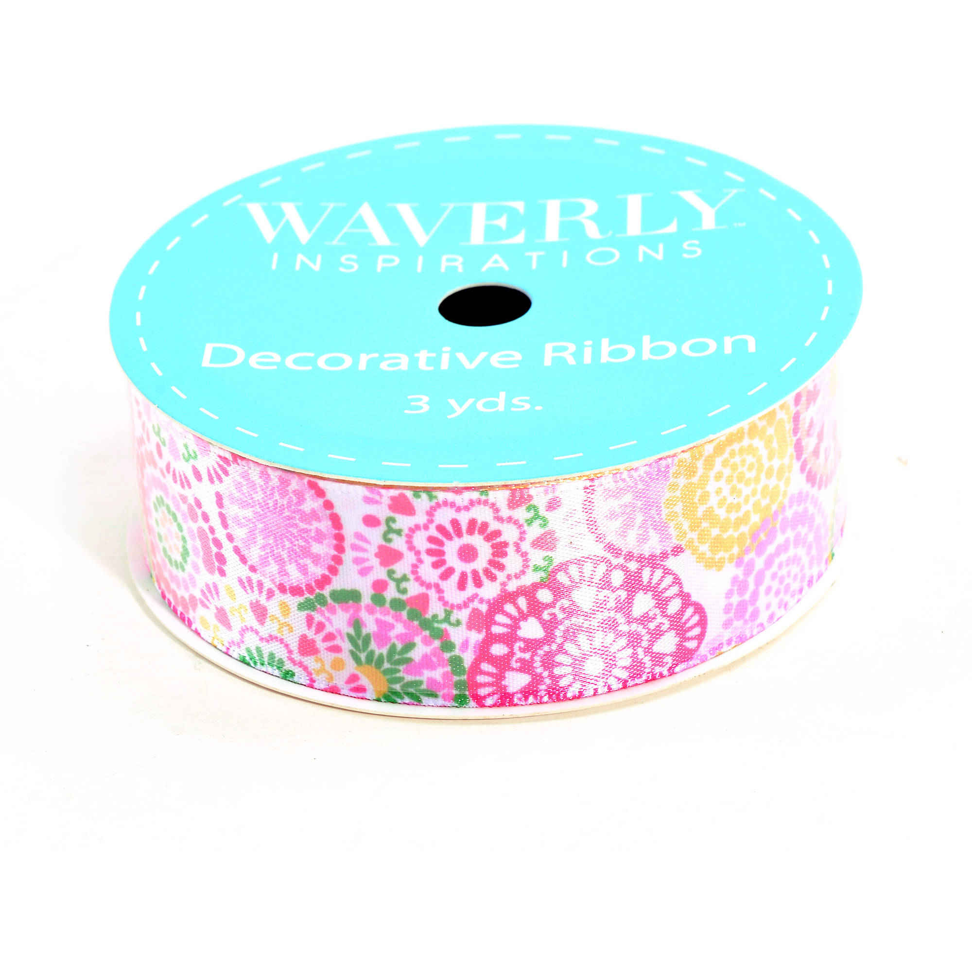 "Waverly Ribbon Circles Satin Ribbon, 1"" x 3 Yards, Light Pink/White"