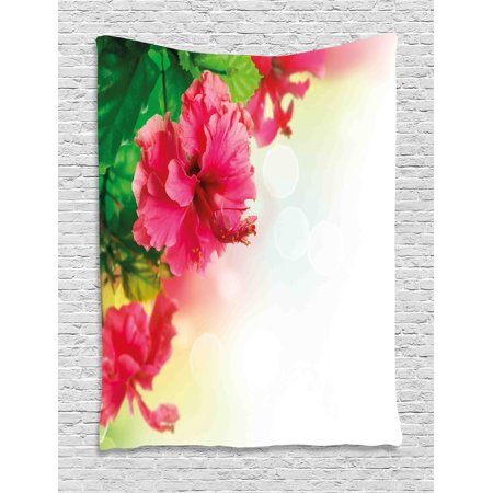 Floral Tapestry, Hibiscus Flower Florets Buds Leaf Essence Fragrance Blossoms Garden Image, Wall Hanging for Bedroom Living Room Dorm Decor, 40W X 60L Inches, Hot Pink Fern Green, by Ambesonne ()