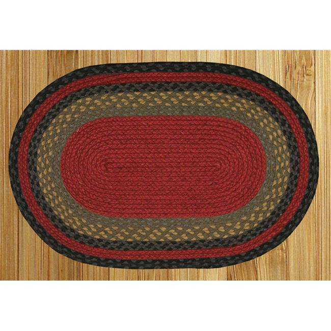 Capitol Earth Rugs 02-238 Burgundy-Olive-Charcoal Jute Braided Rug - image 1 de 1