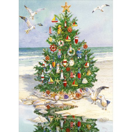 Red Farm Studios Decorated Tree on Beach Coastal Christmas Card ()