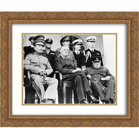 Graceful Double Rows - Teheran, Iran, Dec. 1943--Front row: Marshal Stalin, President Roosevelt, Prime Minister Churchill 24x20 Double Matted Gold Ornate Framed Art Print
