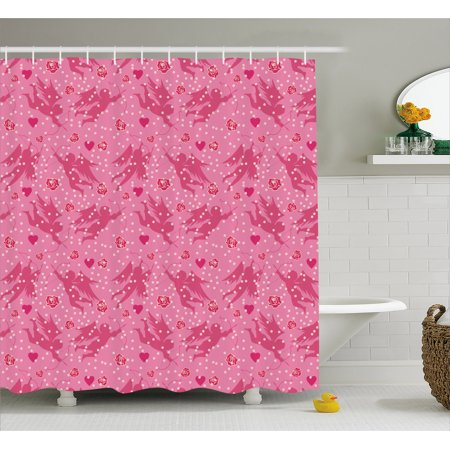 Angel Shower Curtain Eros With Hearts And Old Fashioned Polka Dots Rose Petals Valentine Retro