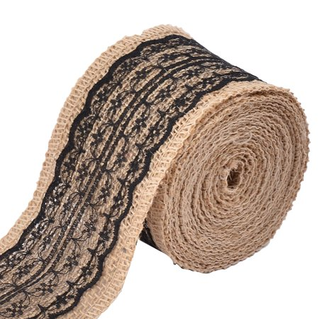 Wedding Gift Lace Edge Decoration Craft Burlap Ribbon Strap Roll Black 3.3 Yards