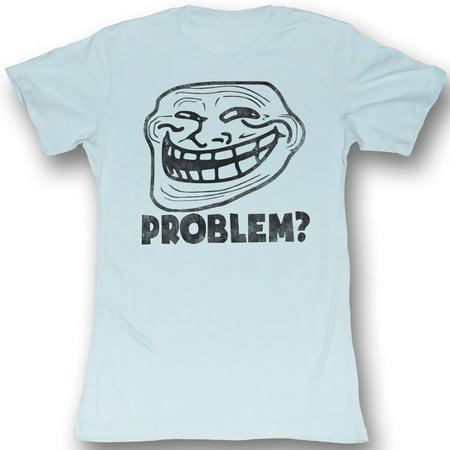 Troll Face Problem? Juniors Lightweight Light Blue T-Shirt | L - Blue Troll