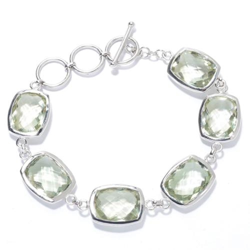 KHR Sterling Silver and Gemstone Adjustable Toggle Bracelet by Overstock