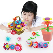 Flower Garden Building Toys 46 Pieces Build-a-Bouquet Stem Toy Set for Preschool Boy and Girl Birthday for Children Ages 3 -7 Years Old