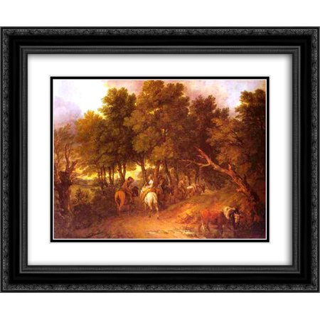 Thomas Gainsborough 2x Matted 24x20 Black Ornate Framed Art Print 'Pesants Returning from Market' - Gainsborough Halloween Market
