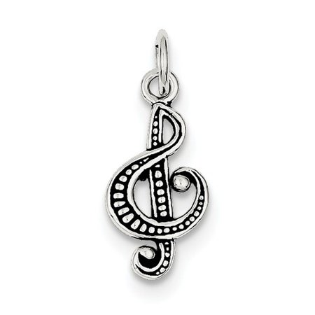 Sterling Silver Antiqued Music Note Charm (0.8in long x 0.4in wide)