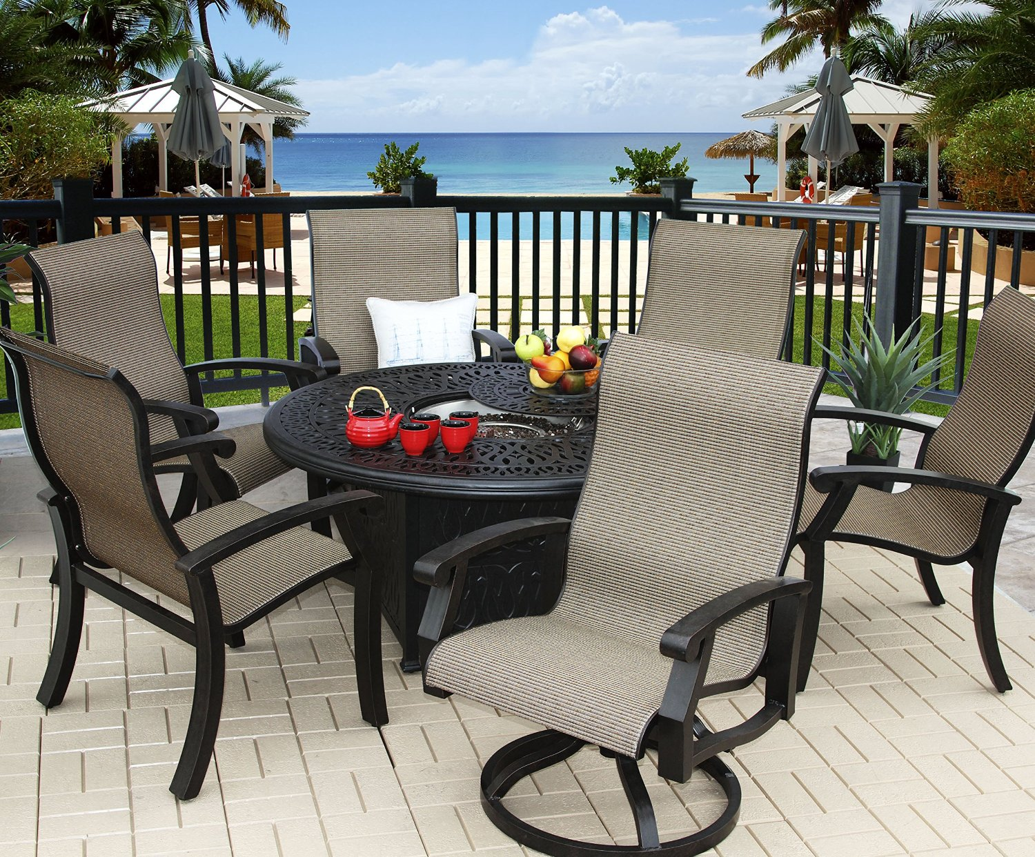 "Barbados Sling Outdoor Patio 7pc Firepit Set with 52"" Round Firepit by"