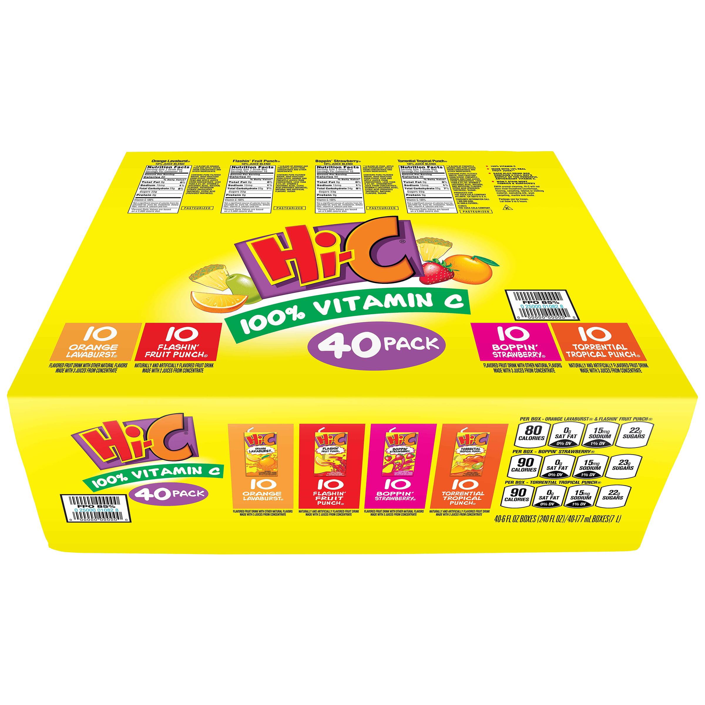 50524145140 Hi-C Fruit Drink Variety Pack, 6 Fl. Oz., 40 Count - Walmart.com