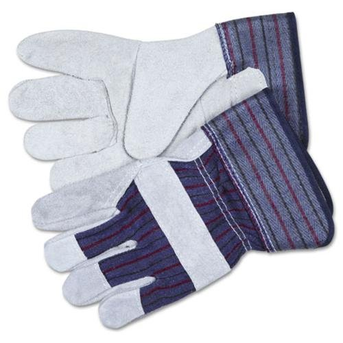 MCR Safety Leather Palm Economy Safety Gloves - Large Size - Leather, Rubber - 1 Pair - Blue CRW12010L