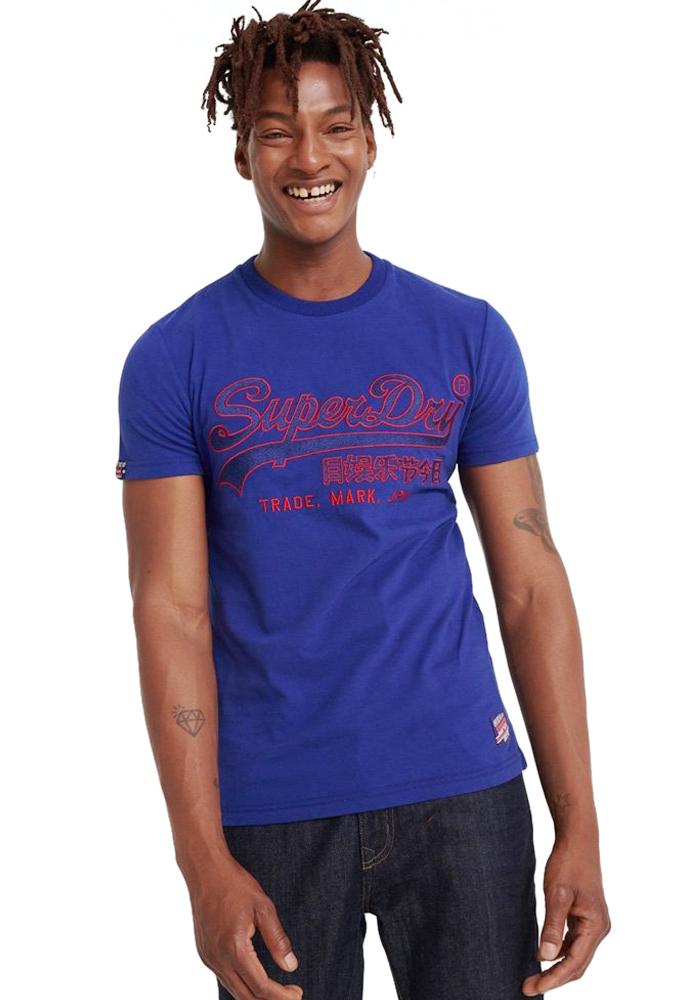 Superdry Downhill Race Applique T-Shirt Downhill Blue