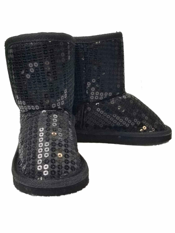 Toddler Infant Girls Black Glitter Faux Fur Ankle Boots Dress Crib Shoes