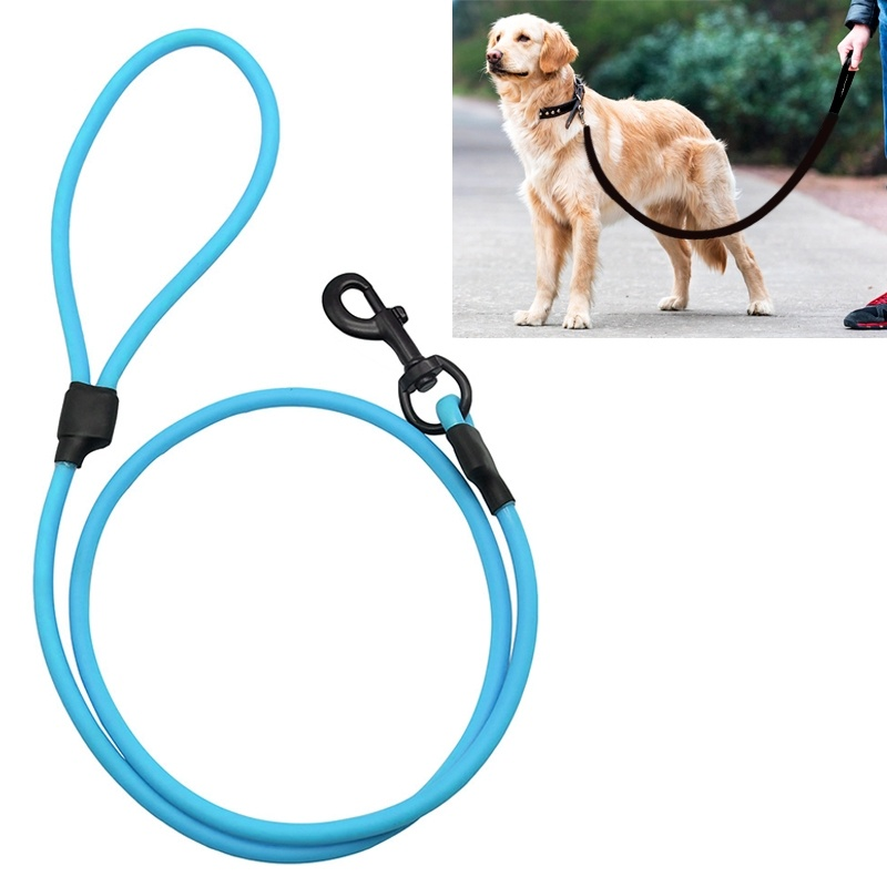 PVC Material Wear-resistant Waterproof Traction Belt Pet Dogs Traction Rope with Handle, Suitable For Medium and Large Dogs, Rope Length: 120 cm - Blue