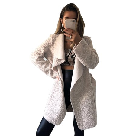 - Wool Lapel Long Coat Women Winter Warm Trench Parka Jacket Overcoat Cardigan Outwear Asymmetrical Irregular Outerwear
