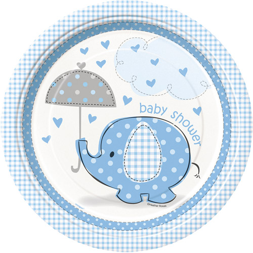 Elephant Baby Shower Plates, 9 in, Blue, 8ct