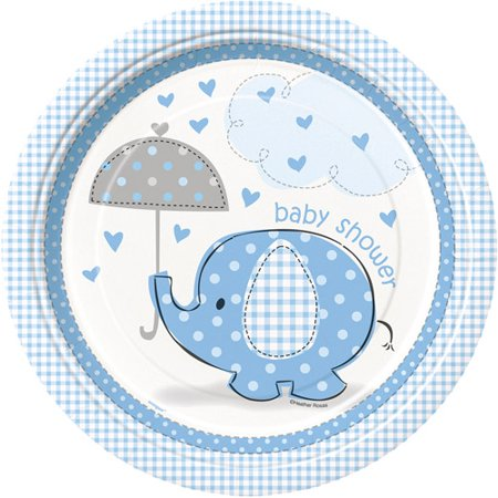 Blue Elephant Baby Shower Paper Dinner Plates, 9in, - Best Baby Shower