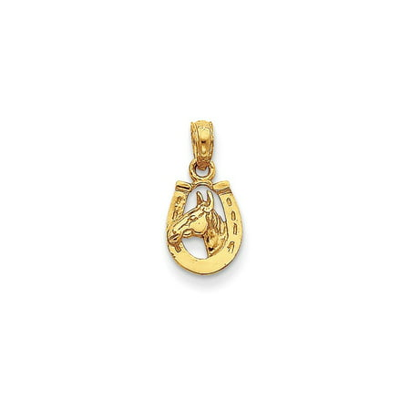 14k Yellow Gold Polished Open back Horseshoe With Horse Head Pendant - .7 Grams