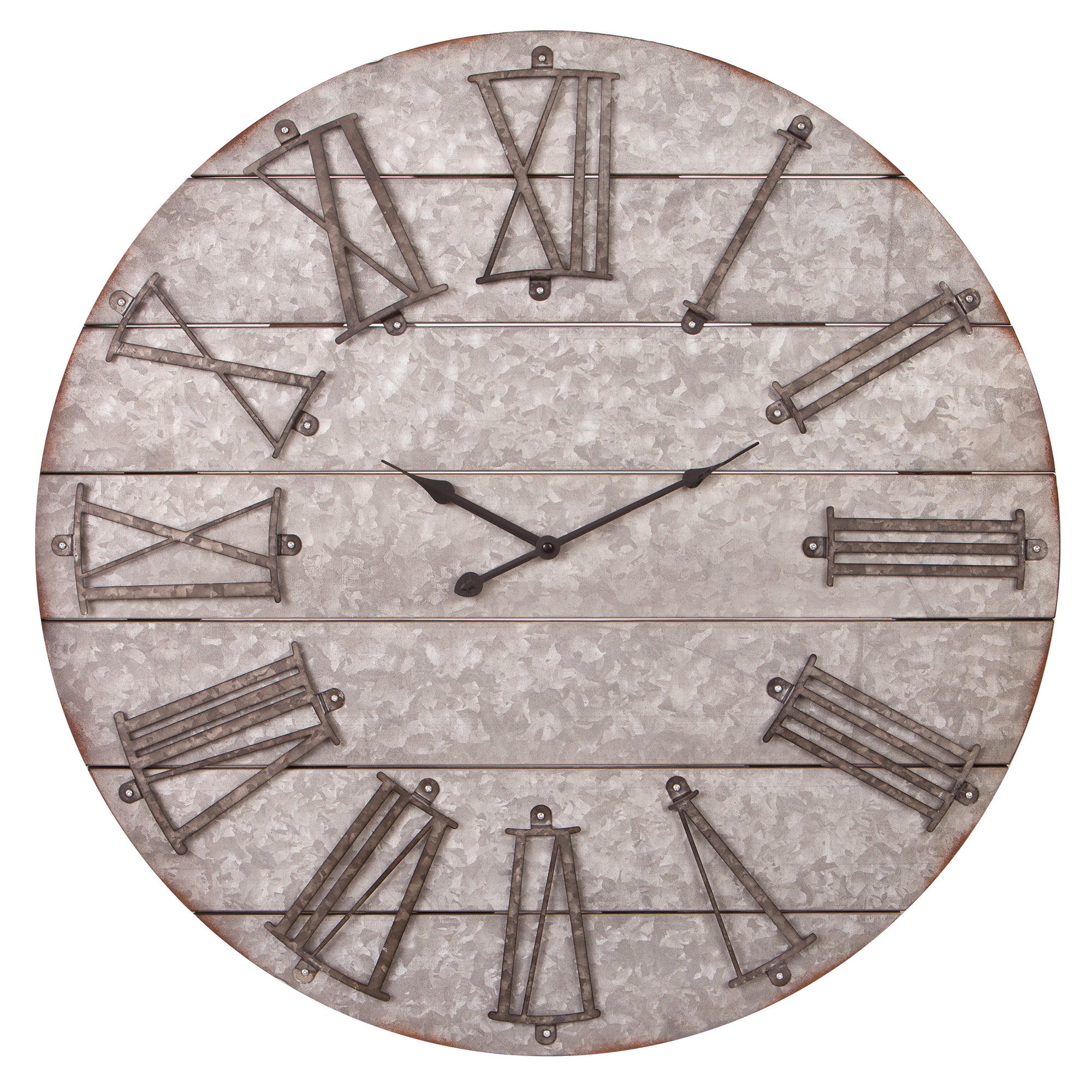 "28"" Rustic Galvanized Metal Planked Frameless Wall Clock"