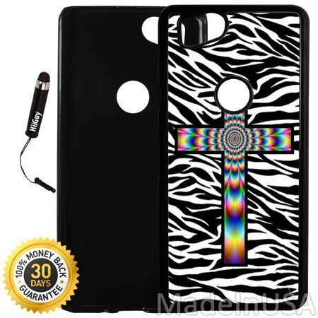 - Custom Google Pixel 2 Case (Colorful Tie Dye Cross Zebra Background) Plastic Black Cover Ultra Slim | Lightweight | Includes Stylus Pen by Innosub