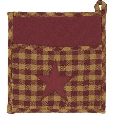 Burgundy Red Primitive Tabletop Kitchen Cody Burgundy Star Fabric Loop Cotton Appliqued Star 9x9 Pot Holder
