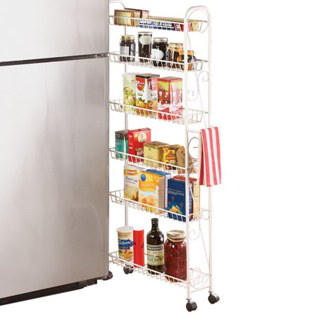 Slim Rolling Pantry 6 Tier Shelf White Metal With Elegant Scroll Design Accent Extra Kitchen And Bathroom Storage