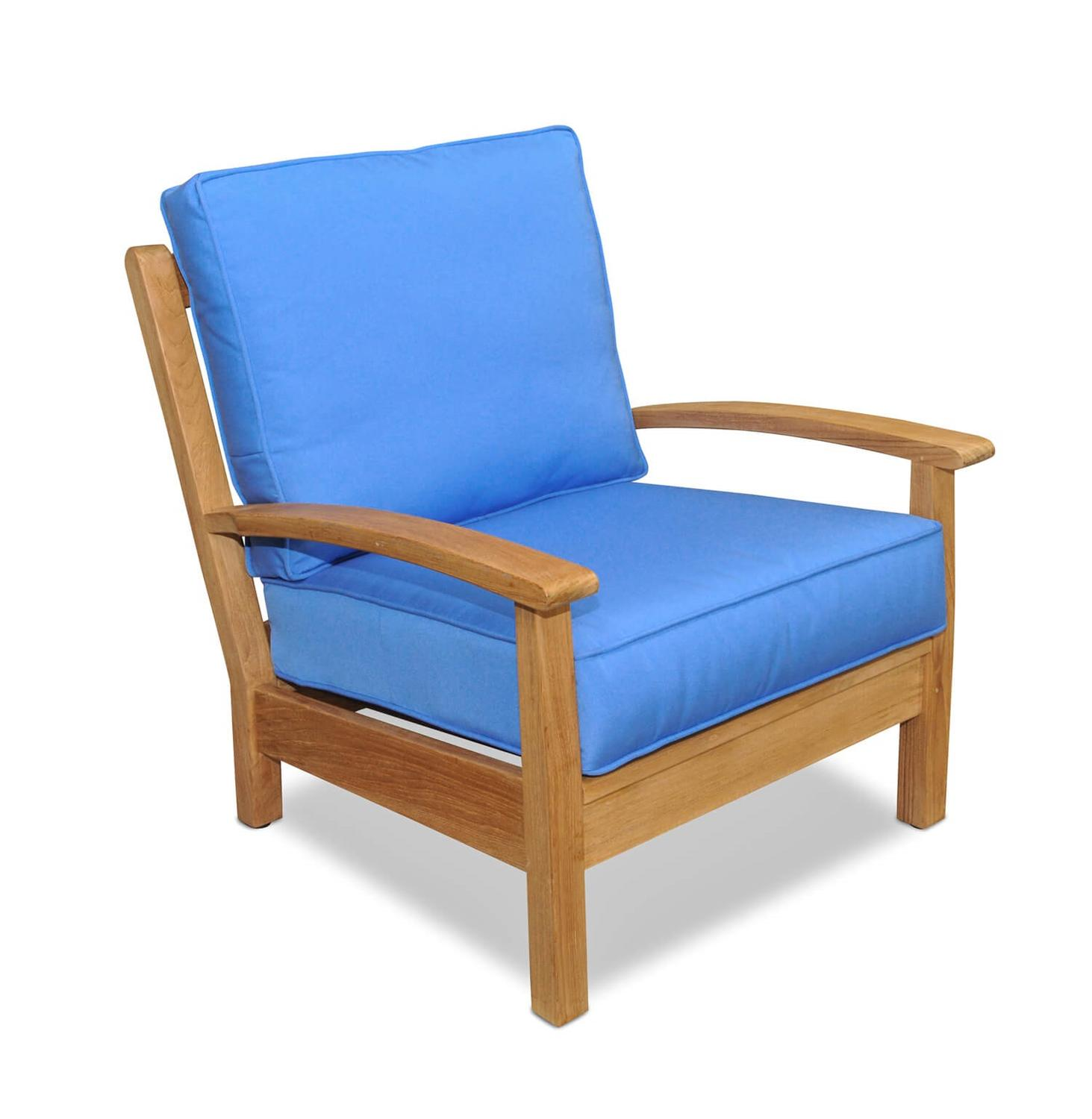 "34"" Natural Teak Deep Seating Outdoor Patio Lounge Chair with Capri Blue Cushion"