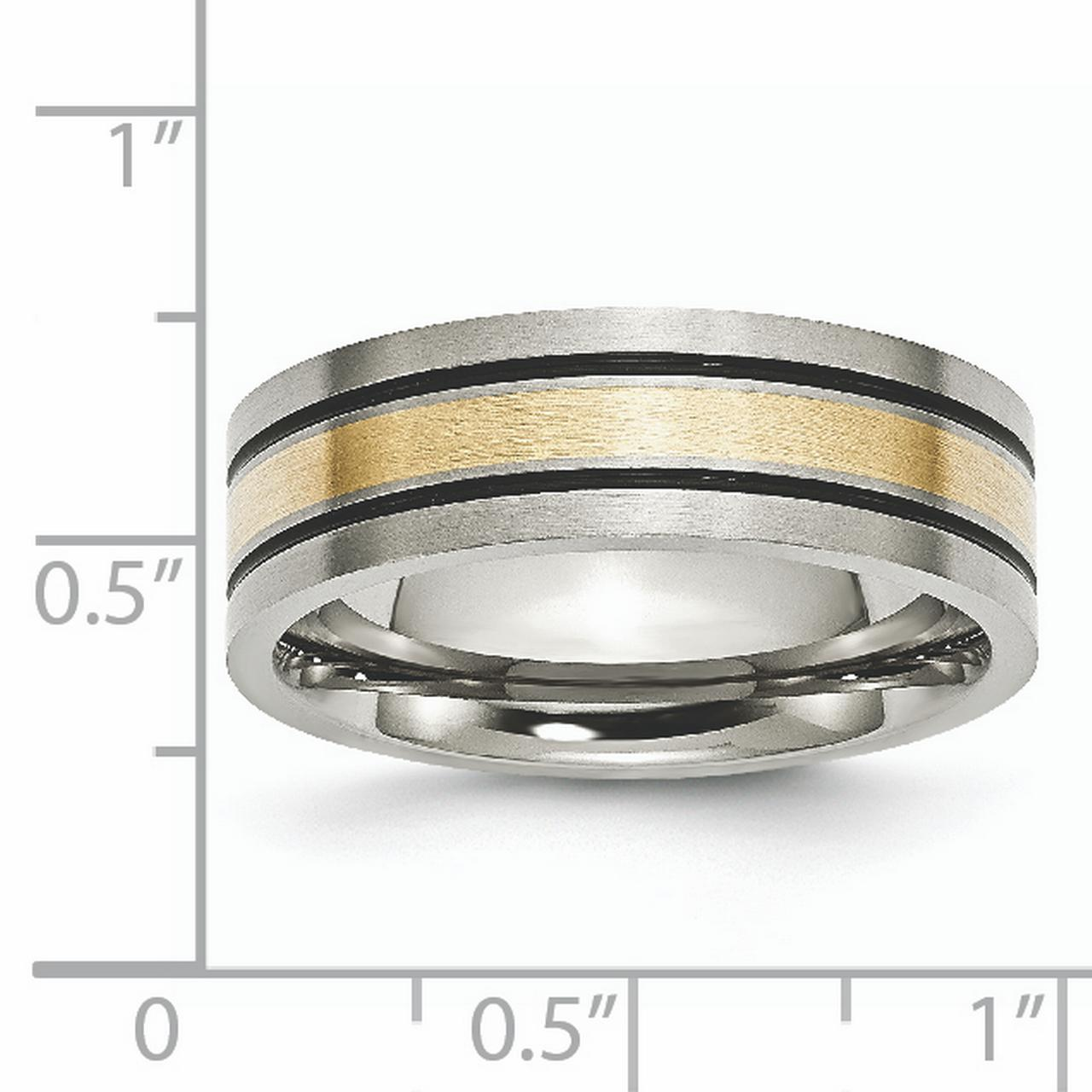 Titanium 14k Yellow Inlay Flat 7mm Brushed Wedding Ring Band Size 10.50 Precious Metal Fine Jewelry Gifts For Women For Her - image 5 of 6
