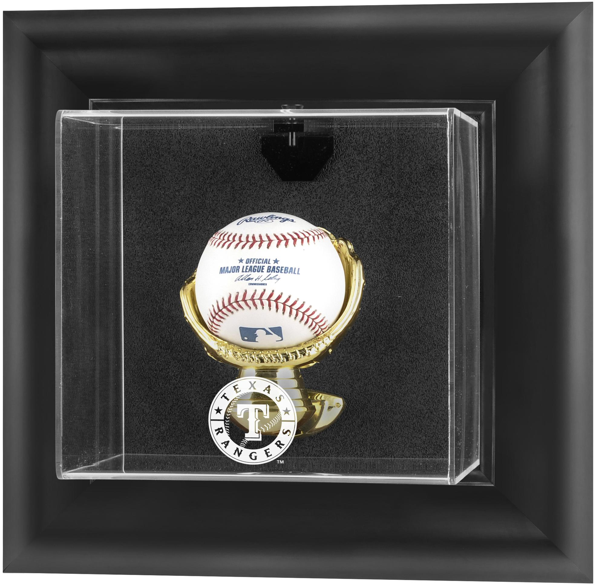 Texas Rangers Fanatics Authentic Black Framed Wall-Mounted Logo Baseball Display Case - No Size