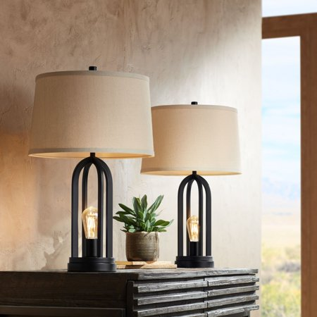 360 Lighting Modern Industrial Table Lamps Set of 2 with Nightlight LED USB Port Black Linen Shade for Living Room Bedroom