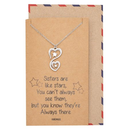 Quan Jewelry 2 Stars Hearts Pendant Necklace Friendship Gifts Birthday For Sister