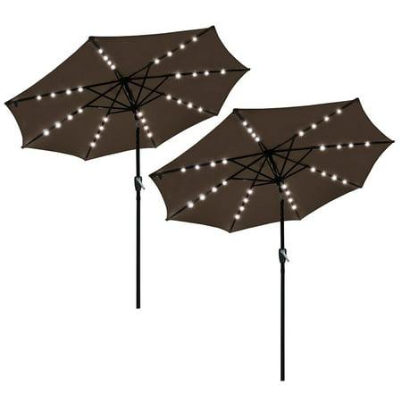 9' Crank Tilt Patio Umbrella w/ Solar Powered 32 LEDs Multiple Colors ()