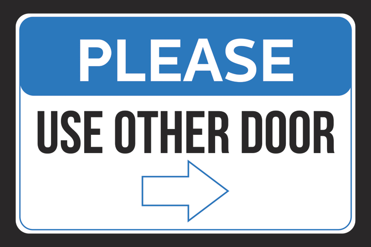 picture relating to Please Use Other Door Signs Printable titled Make sure you Seek the services of Other Doorway Specifically Arrow Pointing Office environment Shop Staff Shopper Wall Print Horizontal Signal - Aluminum Meta