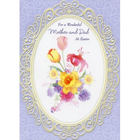 Designer Greetings Flowers Inside Oval Frame: Mother and Dad Parents Easter Card