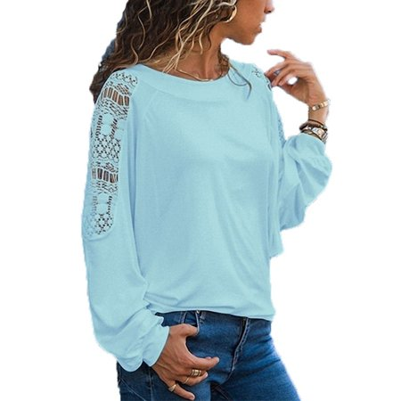 Fresh look - Women Fashion Round Neck T-shirt Casual Long Sleeve Tops Ladies  Fashion Loose Shirts Pure Color Lace Blouse - Walmart.com 705d43ad4