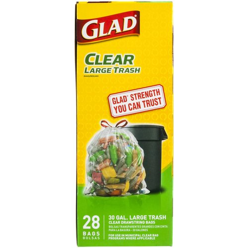 Glad Clear Recycling Large Drawstring Trash Bags, 30 gallon, 28 count