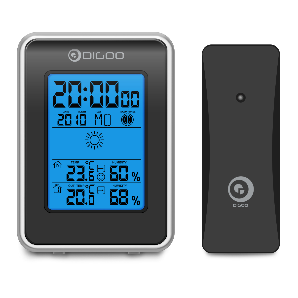 Digoo DG-TH1981 Weather Station Hygrometer Thermometer Clock Station Outdoor Forecast Sensor - Weather Forecast:Sunny & Partly Cloudy & Cloudy & Rainy