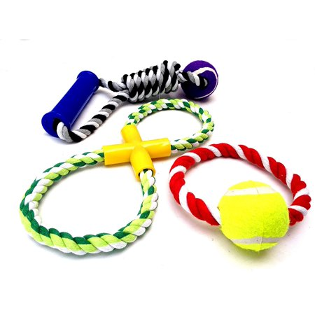 Deluxe Assorted Dog Toys Aggressive Cotton Blend Chew Tennis Ball Ropes Tug Of War Game  Sets Of 3   Small Dog Ropes  Variety A