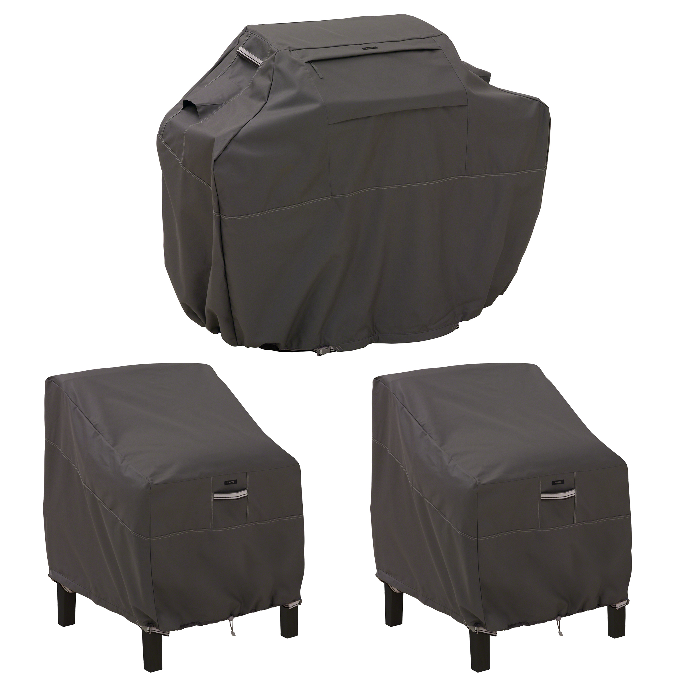 Classic Accessories Ravenna® Medium Grill Cover and Patio Lounge Chair Cover Bundle - Premium Outdoor Covers with Durable Water Resistant Fabric (55-925-035103-EC)