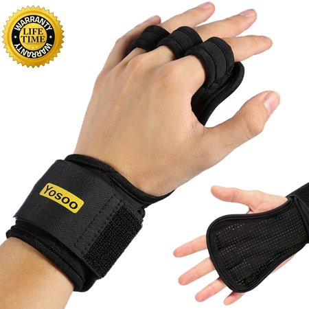 Yosoo Pull Up Gloves (Pair) with Wrist Support for Cross Training, WODs, Gym Workout with Micro Fiber Padding to Avoid Calluses,Best Weightlifting Gloves for Men & (Best Pull Up Workout Routine)