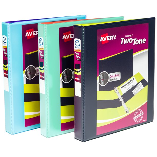 """Avery Two-Tone Durable View Binder, 1"""" Slant Rings, 220"""