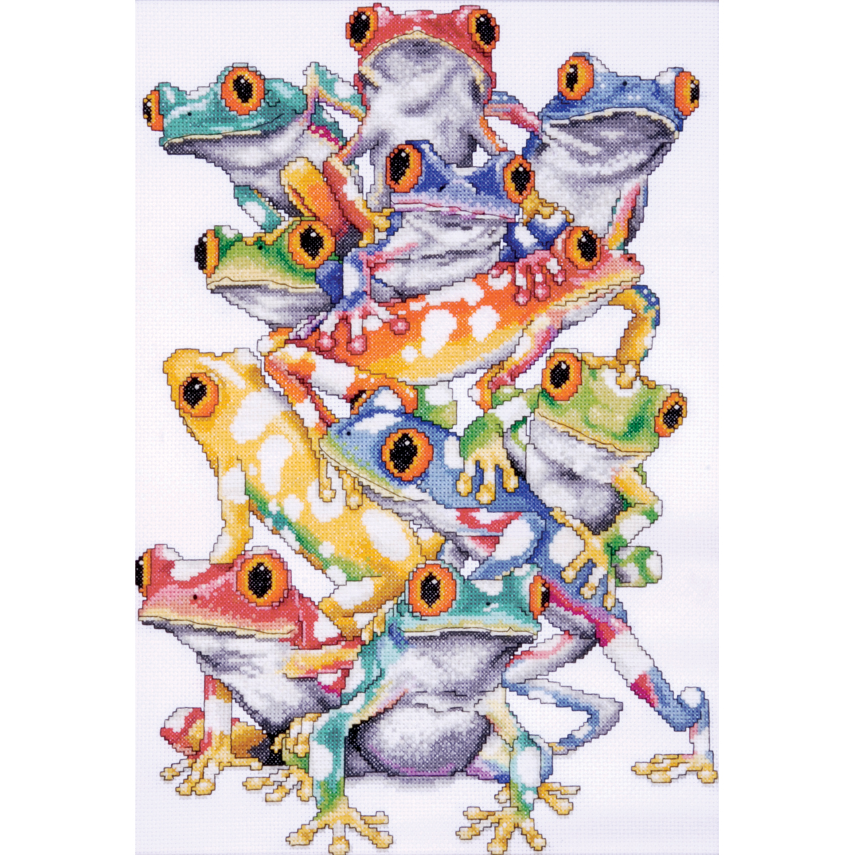 "Frog Pile Counted Cross Stitch Kit, 11"" x 16"", 14-count"