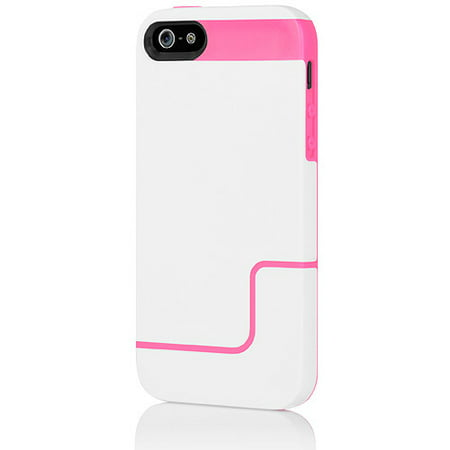 Incipio EDGE PRO Case for iPhone 5, White/Neon Pink