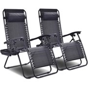 OupsTech 2 PCS Zero Gravity Chair Patio Chaise Lounge Chairs Outdoor Yard Pool Recliner Folding Lounge Chair with Cup Holder (Black)