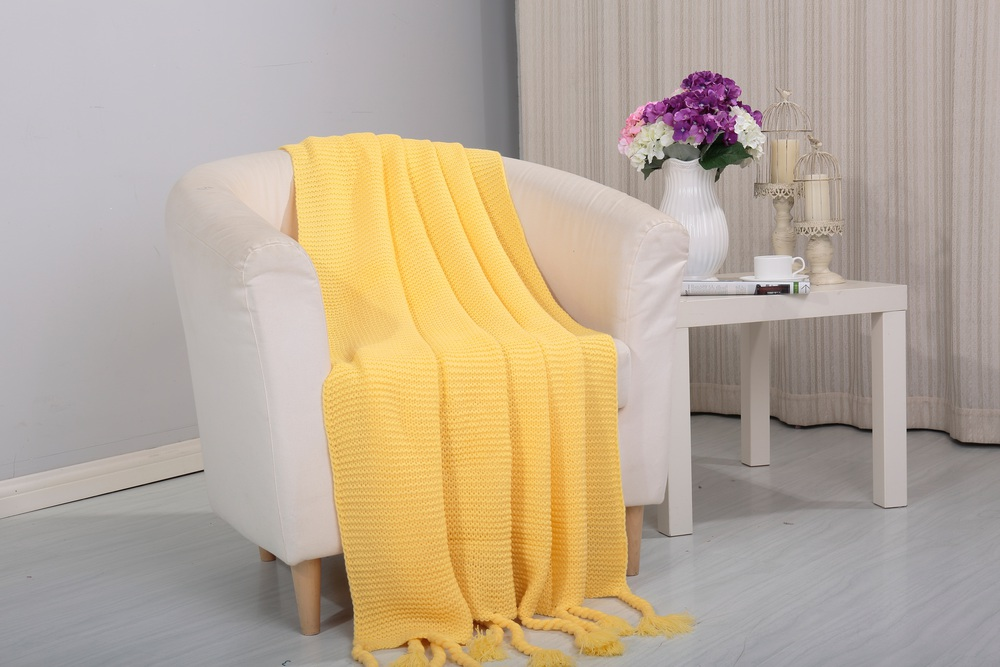 camilla knitted throw couch cover sofa blanket 50x60 yellow