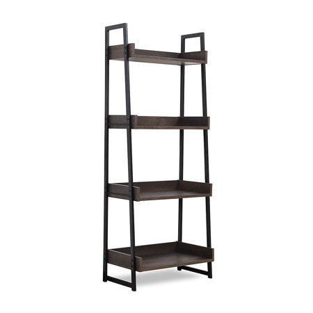 Sekey Home Ladder Shelf, 4-Tier Bookshelf | Book Case, Storage Rack Shelf Unit, Bathroom, Living Room, Wood Look Accent Furniture Metal Frame,Smoky Oak ()